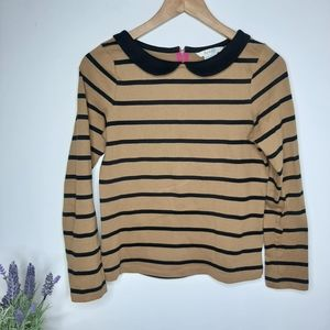 Boden Striped Shirt with Peter Pan collar size 4